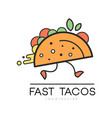 fast tacos logo design food service delivery vector image
