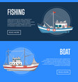 Fishing company flyers with commercial small boats