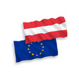 flags of austria and european union on a white vector image vector image