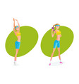 girl does various exercises makes perfect result vector image vector image