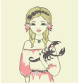 Girl with a fish Astrological the sign of Scorpio vector image