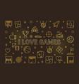 i love games golden line vector image vector image