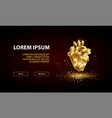 landing page template with low poly golden heart vector image vector image