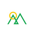 letter m mountain overlapping line logo vector image vector image