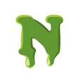 Letter N made of green slime vector image vector image