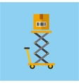 lift cart with box vector image vector image
