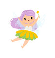 lovely little winged fairy with long lilac hair vector image vector image