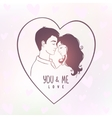 lovers in a heart vector image vector image