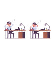 male and female security guard resting at work vector image vector image