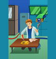 man working on electronic device with robot help vector image vector image
