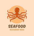 octopus seafood restaurant menu isolated logo vector image vector image