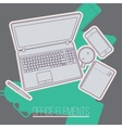 Office table with stationery items and phone vector image