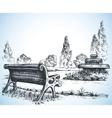 Park sketch a fountain and bench vector image vector image