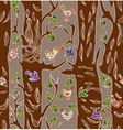 seamless tree and bird vector image vector image