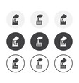 set 3 simple design factory icons rounded vector image
