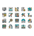 set engineering flat color icons workplace vector image