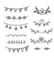 set of hand-drawn black handle elements set of vector image