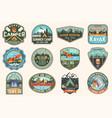 set summer camp canoe and kayak club badges vector image vector image