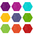 shooting gallery icons set 9 vector image vector image