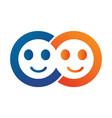 smiling faces logo design vector image vector image