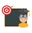 student graduated with chalkboard and target vector image vector image