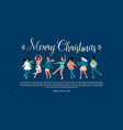 template with women skate christmas and vector image