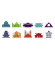 temple icon set color outline style vector image vector image