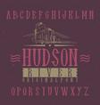vintage label font named hudson vector image vector image