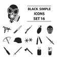 weapon set icons in black style big collection of vector image vector image
