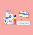 woman using mobile application online market vector image vector image