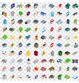 100 municipal icons set isometric 3d style vector image vector image