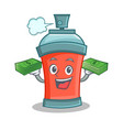 aerosol spray can character cartoon with money vector image vector image