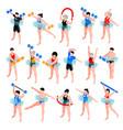 aqua aerobics isometric set vector image vector image