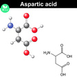Aspartic acid chemical structure vector image vector image