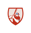 Baseball Player Batter Hitter Shield Retro vector image vector image