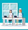 beautiful nurses in consulting room vector image