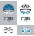 Bicycle cycling helmet and glasses vector image
