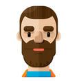 brown beard man flat icon vector image vector image