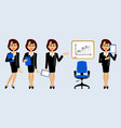 businesswomen set in office with the growth chart vector image