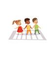 children using cross walk to cross street traffic vector image