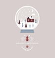 christmas card snow globe with cute little winter vector image vector image