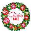 christmas sale poster wreath with discount tags vector image vector image