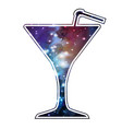 cocktail silhouette with open space universe vector image vector image