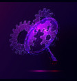 cogwheels and magnifier low poly vector image vector image
