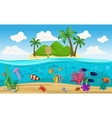 Colored Underwater World Island Composition vector image