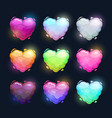 colorful fluffy heart shape clouds vector image vector image