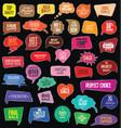 colorful sale speech bubbles on black background vector image