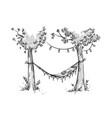 cosy hammock in a garden sketch vector image