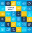 cryptocurrency line icons vector image vector image