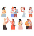 cute happy families and women vector image vector image